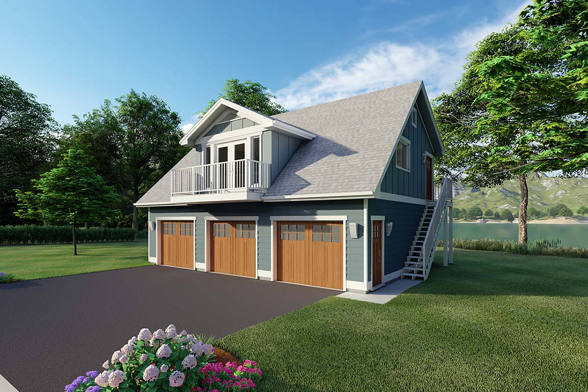 3 Car Garage Apartment Plan 90941 with 2 Beds, 1 Baths Elevation