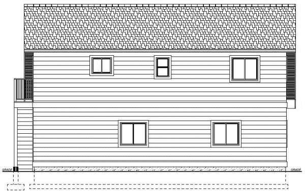 3 Car Garage Apartment Plan 90941 with 2 Beds, 1 Baths Rear Elevation