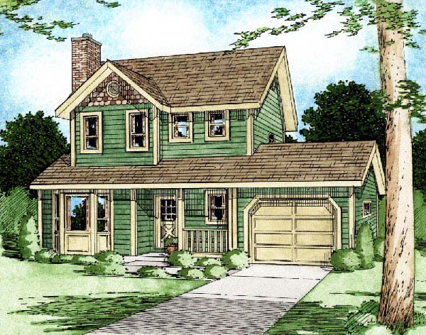 Country, Craftsman House Plan 90951 with 3 Beds, 3 Baths, 1 Car Garage Elevation