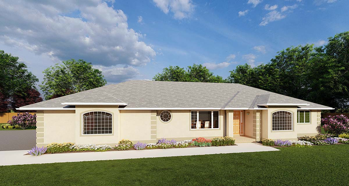 Ranch House Plan 90986 with 3 Beds, 3 Baths, 3 Car Garage Elevation