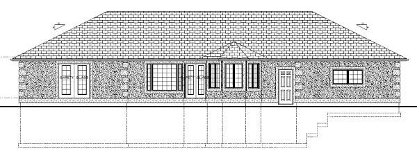 Ranch House Plan 90986 with 3 Beds, 3 Baths, 3 Car Garage Rear Elevation