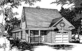 Country, Narrow Lot House Plan 91171 with 3 Beds, 2 Baths, 1 Car Garage Elevation
