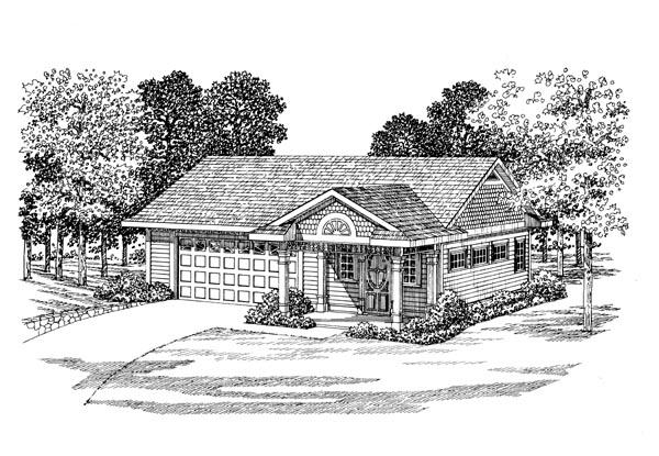 2 Car Garage Apartment Plan 91250 Front Elevation