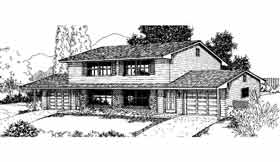 Ranch Multi-Family Plan 91328 with 4 Beds, 4 Baths, 2 Car Garage Elevation