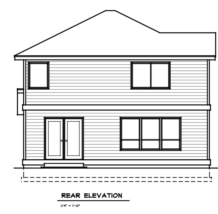 Traditional House Plan 91603 with 3 Beds, 3 Baths, 2 Car Garage Rear Elevation
