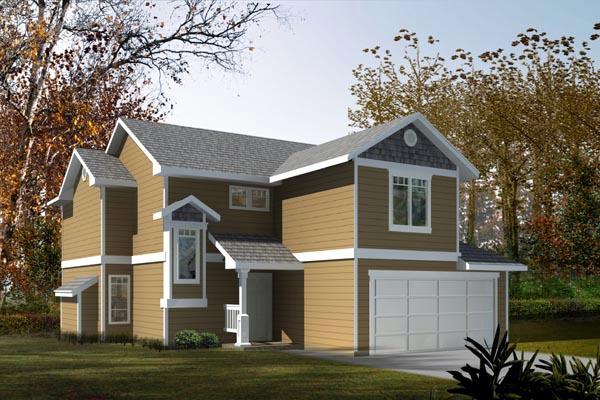Craftsman, Narrow Lot House Plan 91607 with 3 Beds, 3 Baths, 2 Car Garage Elevation