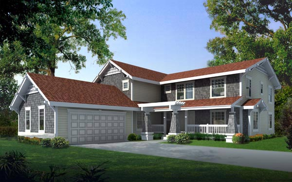 Country, Craftsman House Plan 91620 with 4 Beds, 4 Baths, 2 Car Garage Front Elevation