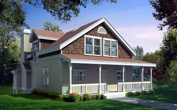 Bungalow, Craftsman, Narrow Lot House Plan 91623 with 5 Beds, 4 Baths, 2 Car Garage Front Elevation