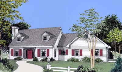 Cape Cod, Colonial House Plan 91640 with 3 Beds, 3 Baths, 2 Car Garage Elevation