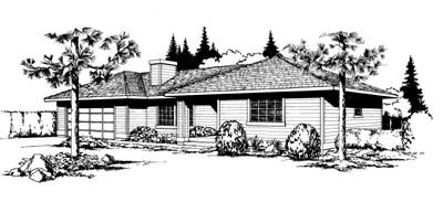 One-Story, Ranch, Southwest House Plan 91642 with 2 Beds, 1 Baths, 2 Car Garage Front Elevation