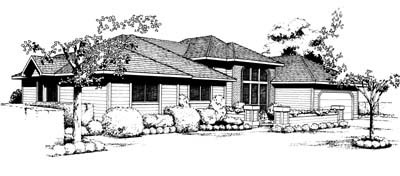 Contemporary, Prairie, Southwest House Plan 91655 with 3 Beds, 2 Baths, 2 Car Garage Front Elevation