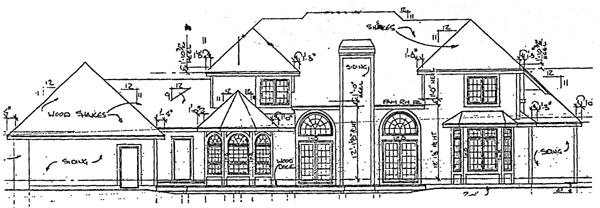 European House Plan 92048 with 4 Beds, 4 Baths, 3 Car Garage Rear Elevation