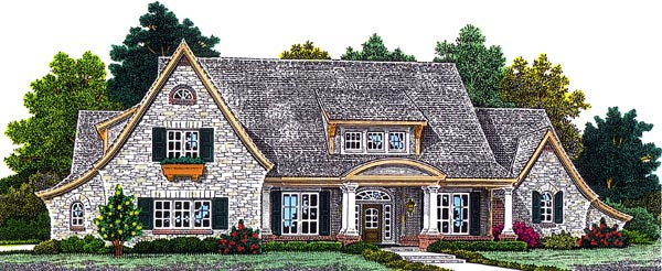 European House Plan 92203 with 3 Beds, 4 Baths, 4 Car Garage Elevation
