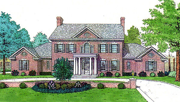 Colonial, French Country, Southern House Plan 92219 with 4 Beds, 4 Baths, 3 Car Garage Front Elevation