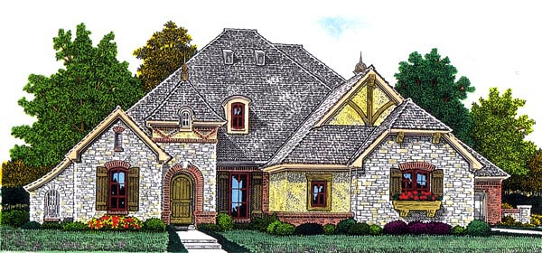 European House Plan 92226 with 4 Beds, 3 Baths, 3 Car Garage Elevation