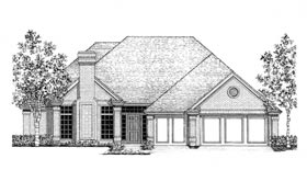 European House Plan 92244 with 4 Beds, 3 Baths, 3 Car Garage Elevation