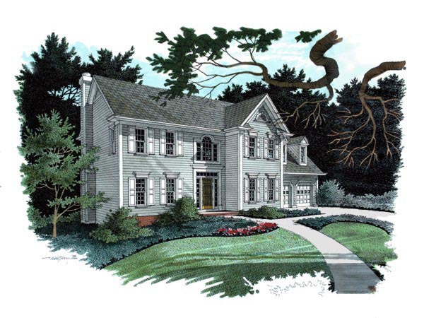 Traditional House Plan 92301 with 4 Beds, 3 Baths, 2 Car Garage Front Elevation