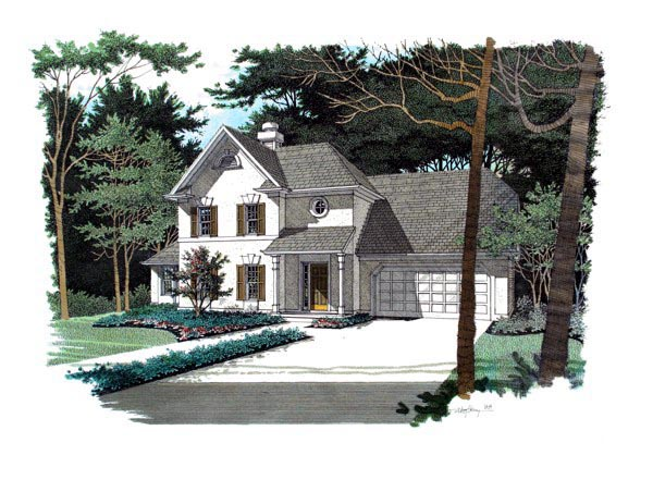 Traditional House Plan 92318 with 3 Beds, 3 Baths, 2 Car Garage Front Elevation