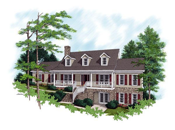 Country, Traditional House Plan 92321 with 3 Beds, 3 Baths, 2 Car Garage Elevation