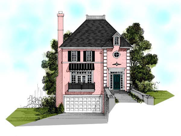 European, Narrow Lot, Traditional House Plan 92349 with 3 Beds, 3 Baths, 2 Car Garage Elevation