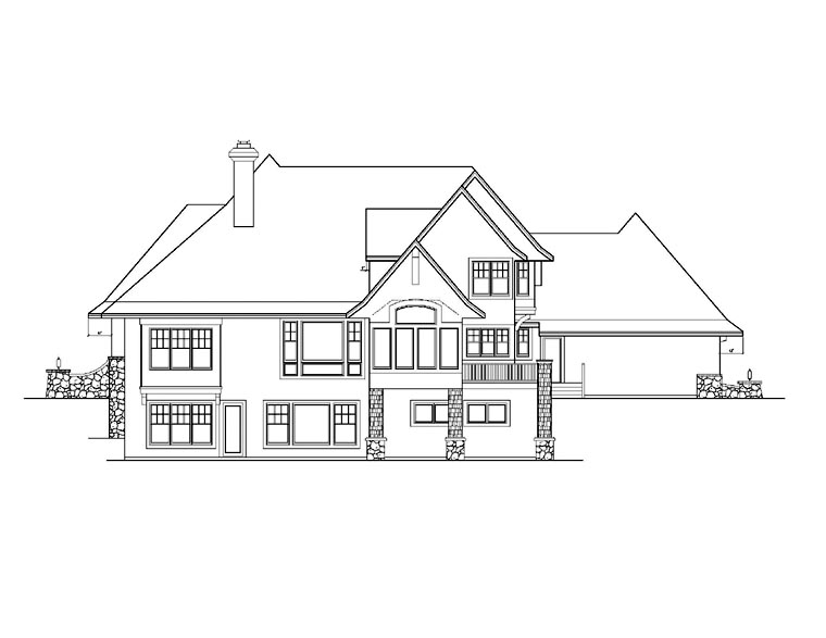 Craftsman House Plan 92351 with 5 Beds, 4 Baths, 3 Car Garage Rear Elevation