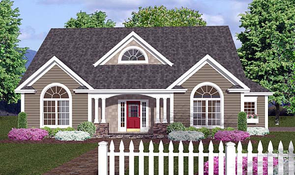 Country, One-Story, Traditional House Plan 92373 with 3 Beds, 3 Baths, 2 Car Garage Front Elevation