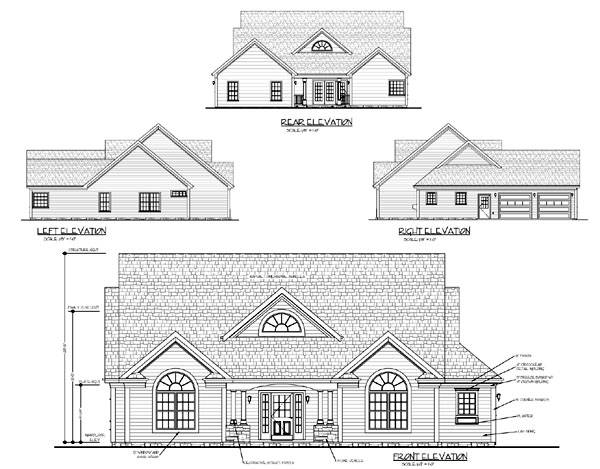 Country, One-Story, Traditional House Plan 92373 with 3 Beds, 3 Baths, 2 Car Garage Rear Elevation