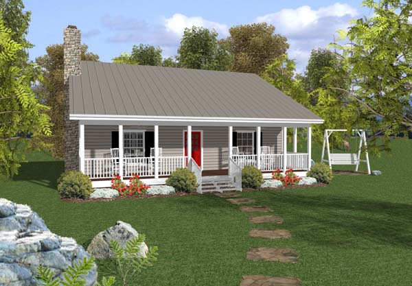 Cabin, Country, Ranch House Plan 92376 with 2 Beds, 2 Baths Front Elevation