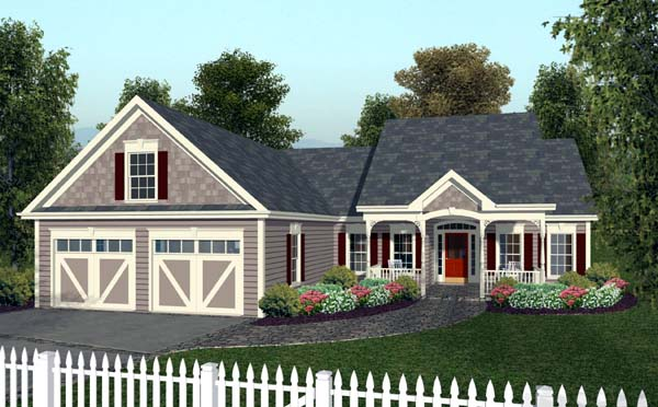 Country, European, Traditional House Plan 92377 with 3 Beds, 2 Baths, 2 Car Garage Elevation