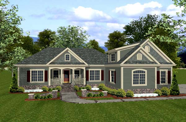 Country, Craftsman House Plan 92385 with 3 Beds, 3 Baths, 3 Car Garage Front Elevation