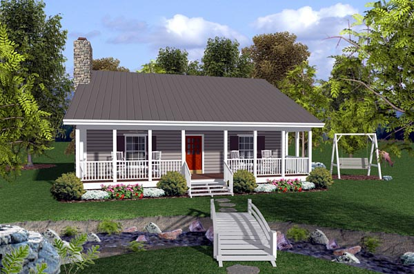 Cabin, Ranch, Traditional House Plan 92388 with 2 Beds, 2 Baths Front Elevation