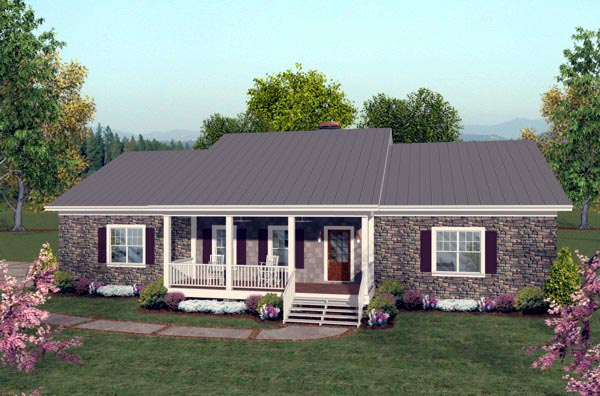 Ranch House Plan 92395 with 2 Beds, 3 Baths, 3 Car Garage Front Elevation