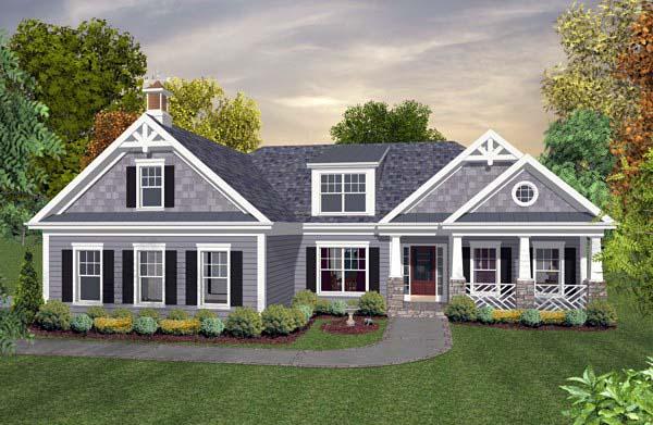Country, Craftsman, Traditional House Plan 92396 with 3 Beds, 2 Baths, 2 Car Garage Elevation