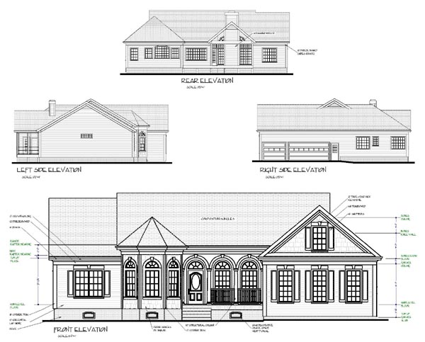 Bungalow, European, One-Story, Ranch, Traditional House Plan 92427 with 3 Beds, 3 Baths, 3 Car Garage Rear Elevation