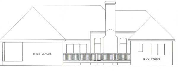 European House Plan 92436 with 4 Beds, 3 Baths, 2 Car Garage Rear Elevation