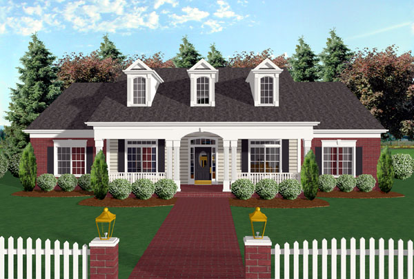 Cape Cod, Country, Farmhouse, One-Story, Ranch House Plan 92446 with 3 Beds, 3 Baths, 2 Car Garage Elevation