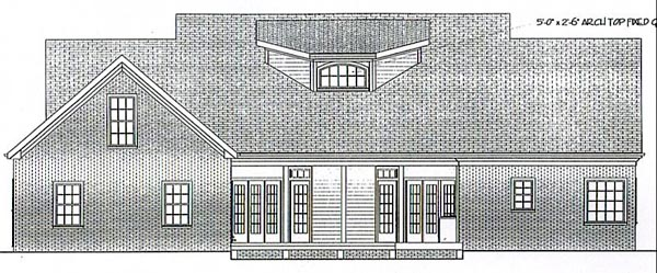 Cape Cod, Country, Farmhouse, One-Story, Ranch House Plan 92446 with 3 Beds, 3 Baths, 2 Car Garage Rear Elevation