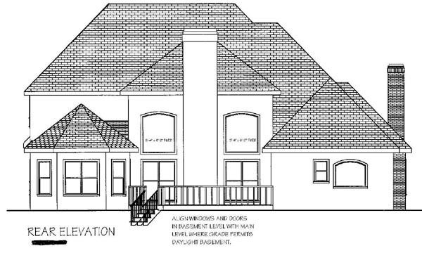European, Tudor House Plan 92452 with 4 Beds, 4 Baths Rear Elevation