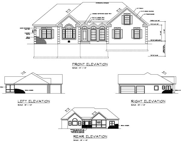 Ranch House Plan 92463 with 3 Beds, 3 Baths, 3 Car Garage Rear Elevation