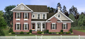 Colonial, Country House Plan 92464 with 4 Beds, 3 Baths, 3 Car Garage Elevation