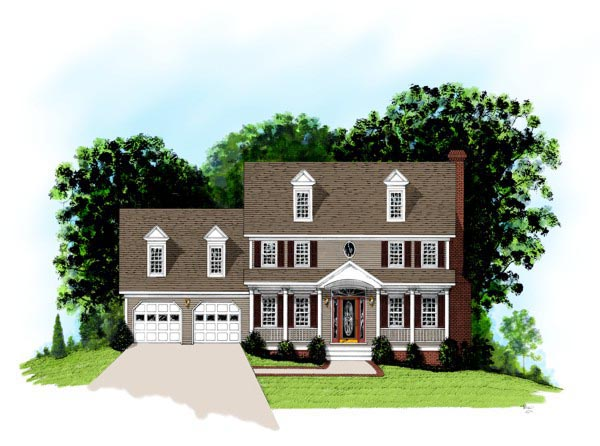 Colonial, Country House Plan 92498 with 4 Beds, 3 Baths, 2 Car Garage Elevation