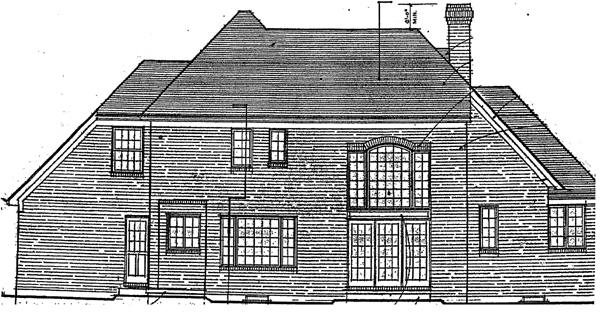 European House Plan 92651 with 4 Beds, 4 Baths, 2 Car Garage Rear Elevation