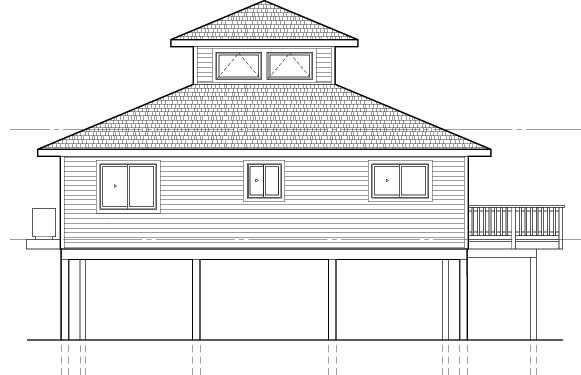 Coastal House Plan 92801 with 3 Beds, 2 Baths Rear Elevation