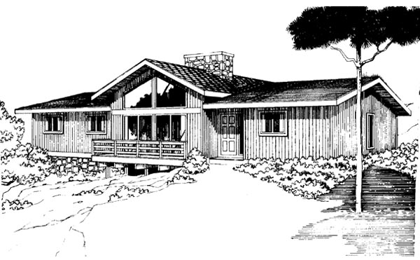 Contemporary, Ranch House Plan 92805 with 3 Beds, 2 Baths Elevation