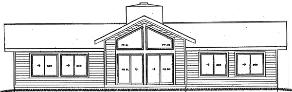 Contemporary, Ranch House Plan 92805 with 3 Beds, 2 Baths Rear Elevation