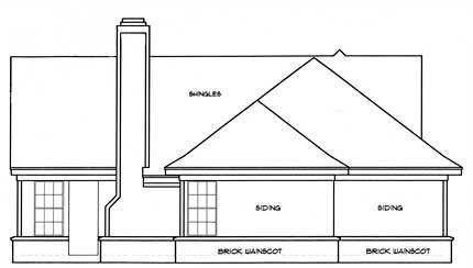 European, Ranch House Plan 93006 with 3 Beds, 2 Baths, 2 Car Garage Rear Elevation