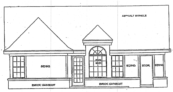 European, Ranch, Traditional House Plan 93015 with 3 Beds, 2 Baths Rear Elevation