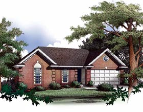 Ranch House Plan 93019 with 3 Beds, 2 Baths, 2 Car Garage Front Elevation