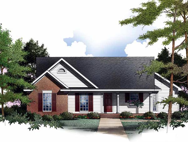 Cabin, One-Story, Ranch House Plan 93075 with 3 Beds, 2 Baths, 2 Car Garage Front Elevation