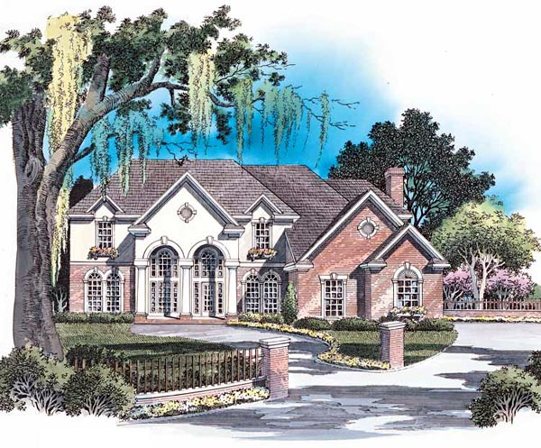 European House Plan 93090 with 4 Beds, 4 Baths, 2 Car Garage Elevation